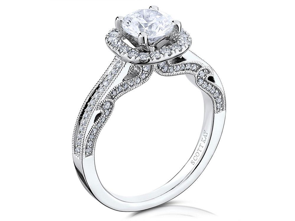 Wedding Rings Kay Jewelry.Lady S 14k White Gold Ring Mounting W 50 Diamonds