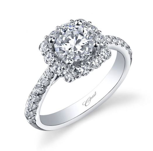 Cushion Halo Engagement Mounting by Coast Diamond Jewelry