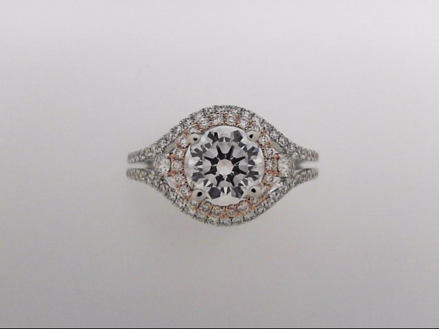 18 Karat White & Rose Gold Ring Mounting With 83 Diamonds by Orin