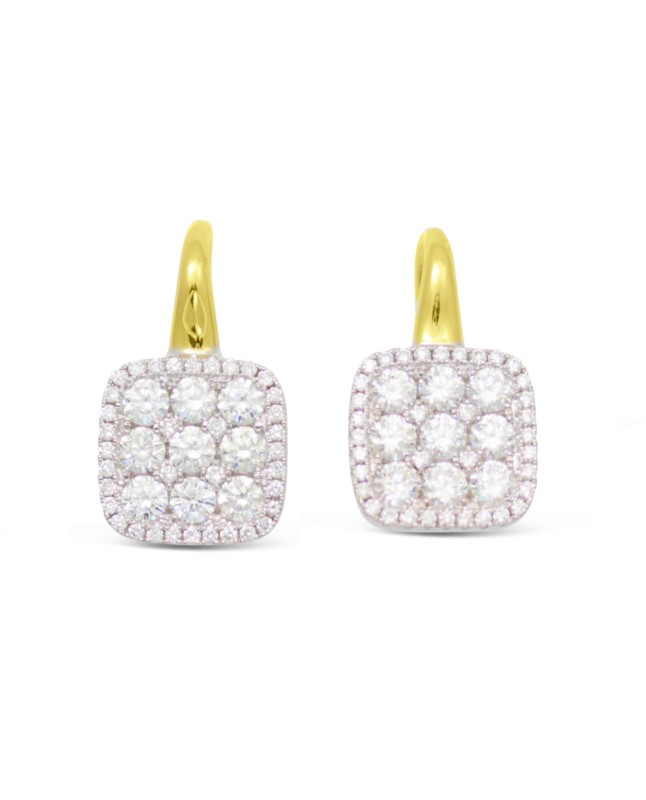 18 Karat Two Tone Yellow & White Gold Earrings With 90 Diamonds by Frederic Sage