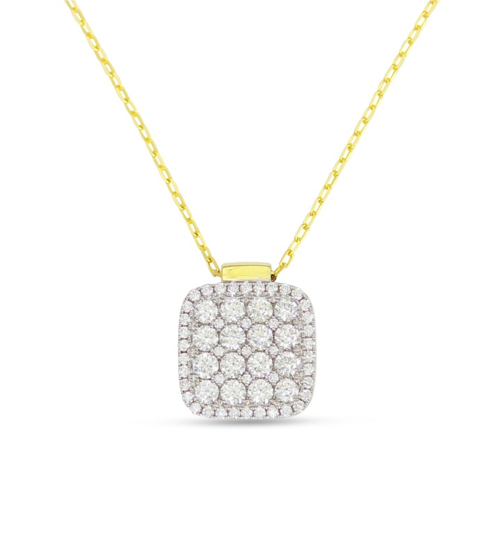 18 Karat Two Tone Yellow & White Gold Pendant With 59 Diamonds by Frederic Sage
