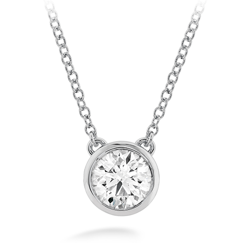 18k White Gold Classic Bezel Solitaire Pendant by Hearts on Fire w/1 Diamond by Hearts on Fire