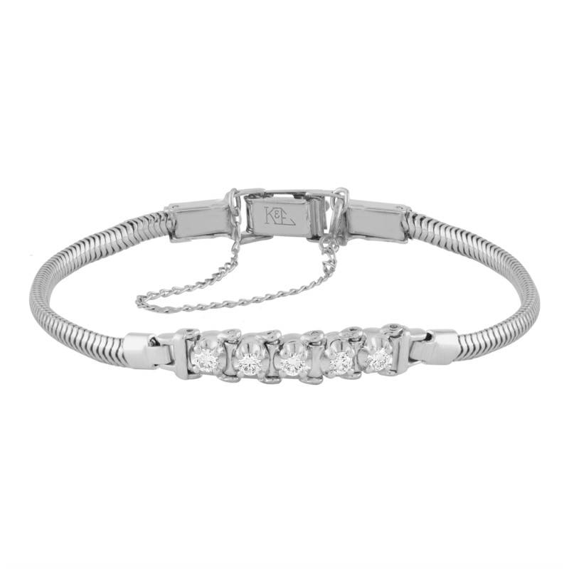 14k White Gold Add-A-Link Bracelet With 5 Diamonds by Kaspar & Esh