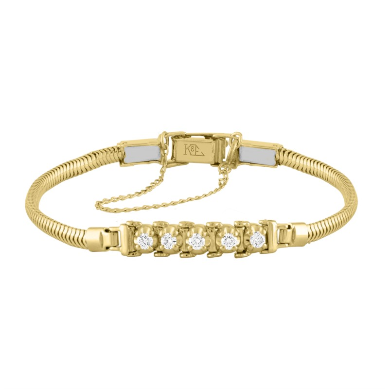 14k Yellow Gold Add-A-Link Bracelet With 5 Diamonds by Kaspar & Esh