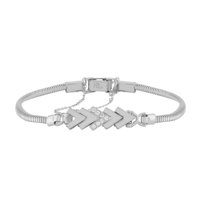14k White Gold Add-A-Link Bracelet With 7 Diamonds by Kaspar & Esh