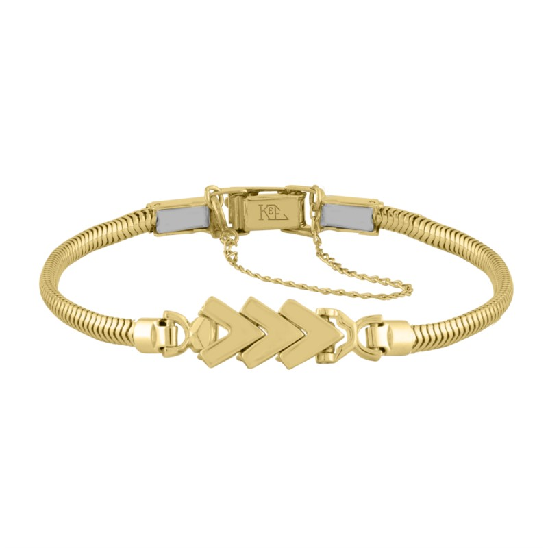 14k Yellow Gold Add-A-Link Bracelet With 3 Chevron Links by Kaspar & Esh