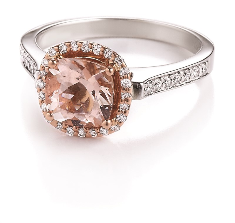 14k White & Rose Gold Ring With Morganite & Diamonds by Makur