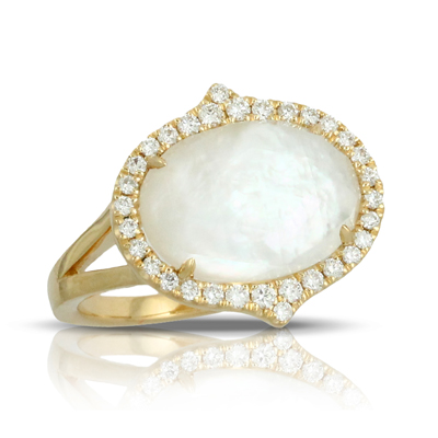18kyg Ring with Clear Quartz over White Mother-of-Pearl & 32 Diamonds by Dove