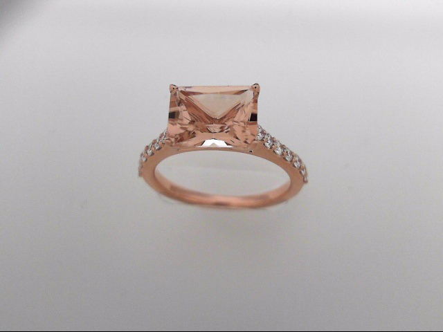 14k Rose Gold Ring With Morganite & Diamonds by Makur
