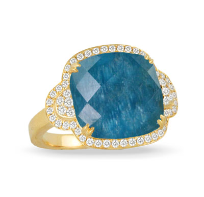18k Yellow Gold Clear Quartz over Apatite Ring With Diamonds by Dove