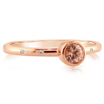 14k Rosé Gold Lotus Garnet & Diamond Ring by Parle