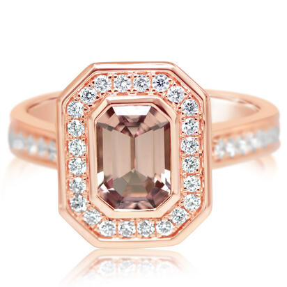 14k Rose Gold Lotus Garnet & Diamond Ring by Parle