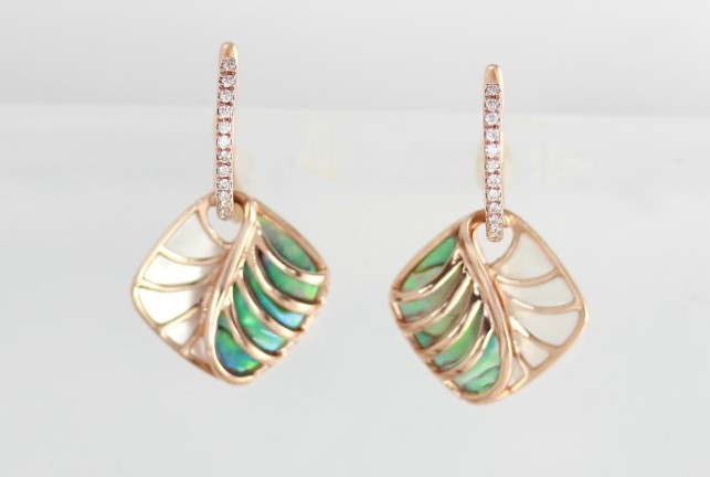 14 Karat Rosé Gold  Earrings With 26 Diamonds, Inlaid White Mother Of Pearl & Abalone by Frederic Sage