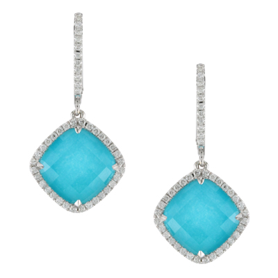 18k White Gold White Topaz over Turquoise Earrings with Diamonds by Dove