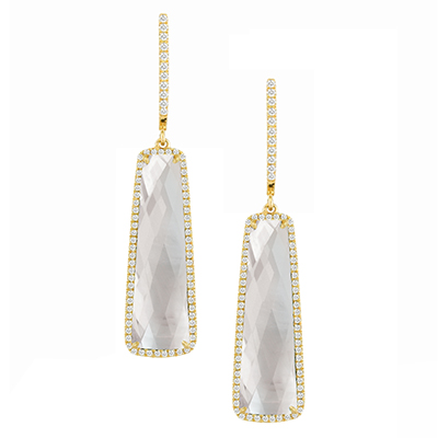 18kyg Earrings with Clear Quartz over White Mother-of-Pearl & 126 Diamonds by Dove