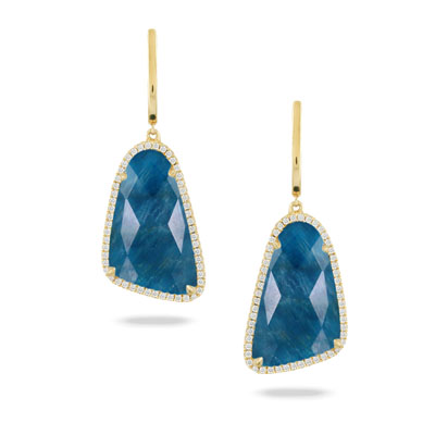 18k Yellow Gold Clear Quartz over Apatite Earrings With Diamonds by Dove