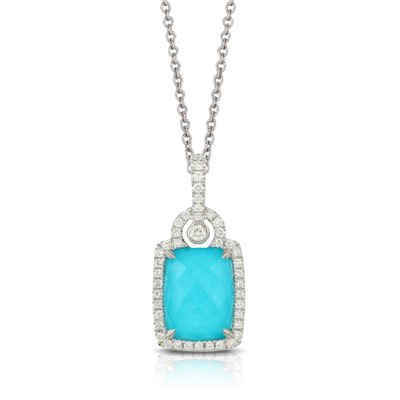 18k White Gold White Topaz over Turquoise Pendant With Diamonds by Dove