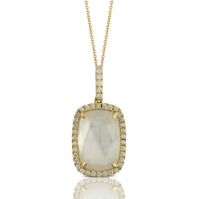 18kyg Pendant with Clear Quartz over White Mother-of-Pearl & 40 Diamonds by Dove