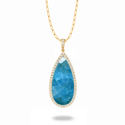 18k Yellow Gold Clear Quartz over Apatite Pendant With Diamonds by Dove