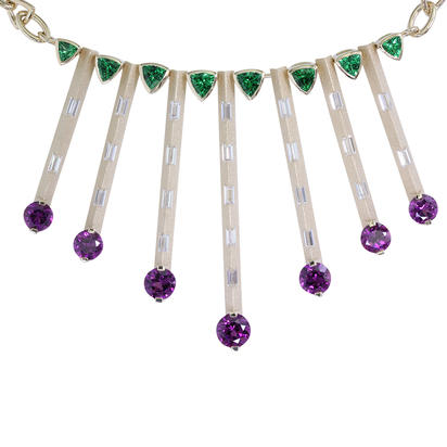 Sharing the Rough Collection Necklace With Diamonds, Purple & Green Garnets by Parle
