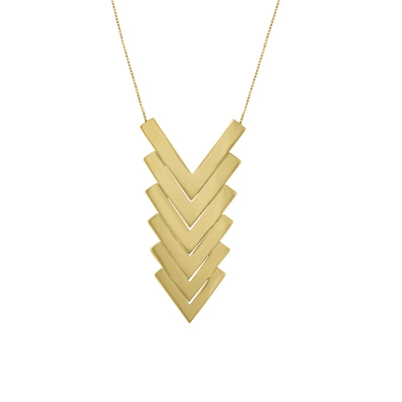 14K Yellow Gold Six Piece Graduated 14K Gold Chevron Pendant by Kaspar & Esh