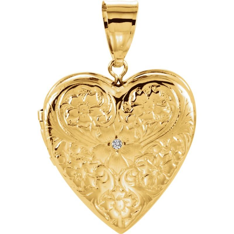 fa87b0bfa8 Lady's 14K Yellow Gold Heart Locket W/Diamond Accent 001-436-07159 | Gold  Charms from Orin Jewelers | Garden City, MI