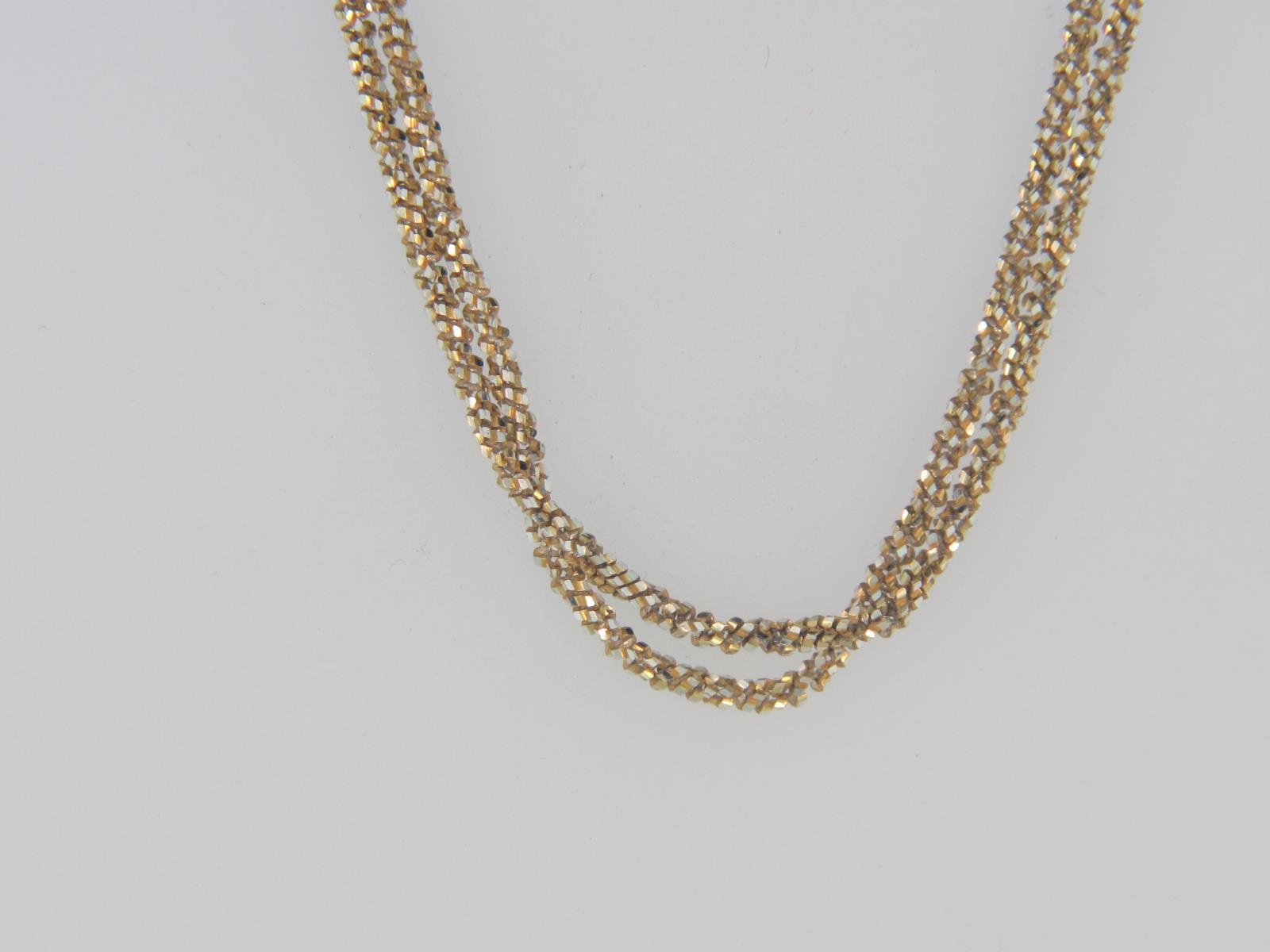 "Yellow Plate over Sterling Silver 2-Strand AURORA Chain,24"" Length by Peter Storm"