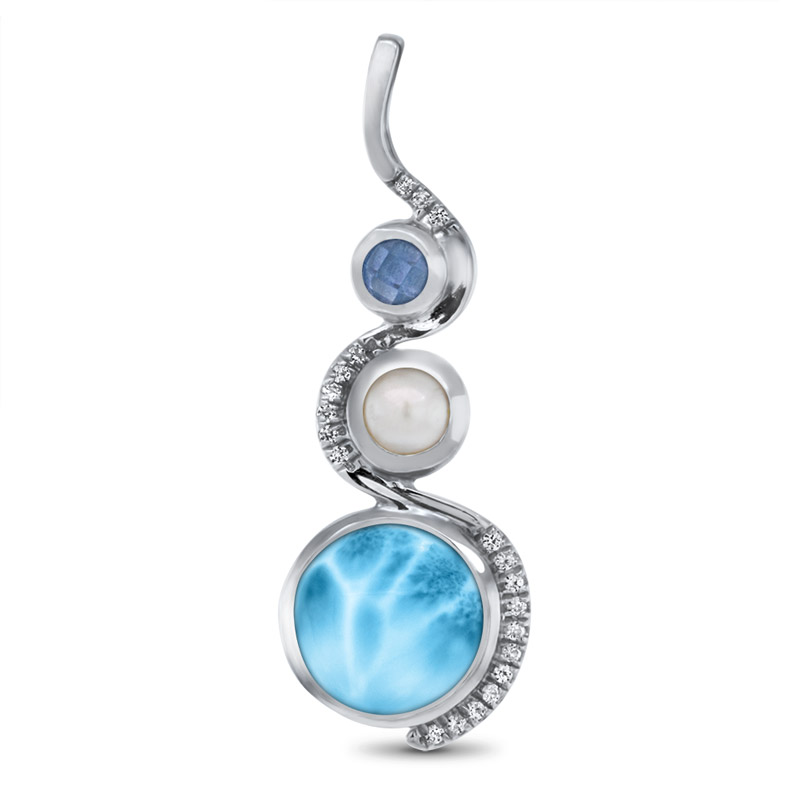 OJ17-24I - Sterling Silver Larimar Pendant With Blue Spinel, White Sapphire & Freshwater Pearl, Zen, by Marahlago by Marahlago Larimar