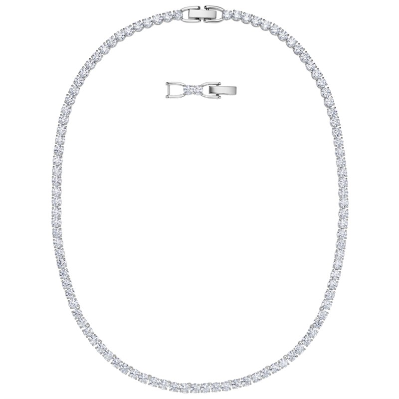 Swarovski Tennis Deluxe Necklace, Rhodium plated by Swarovski