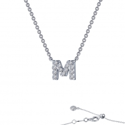 "Sterling Silver Initial ""M"" Pendant With CZs by Lafonn Jewelry"
