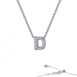 "Sterling Silver Initial ""D"" Pendant With CZs by Lafonn Jewelry"