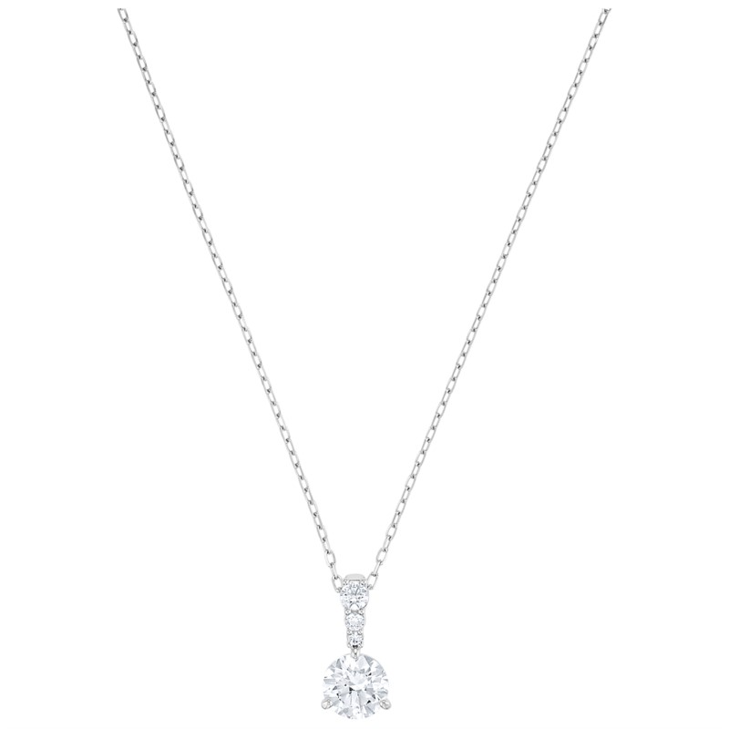 Swarovski Solitaire Pendant, White, Rhodium plated by Swarovski