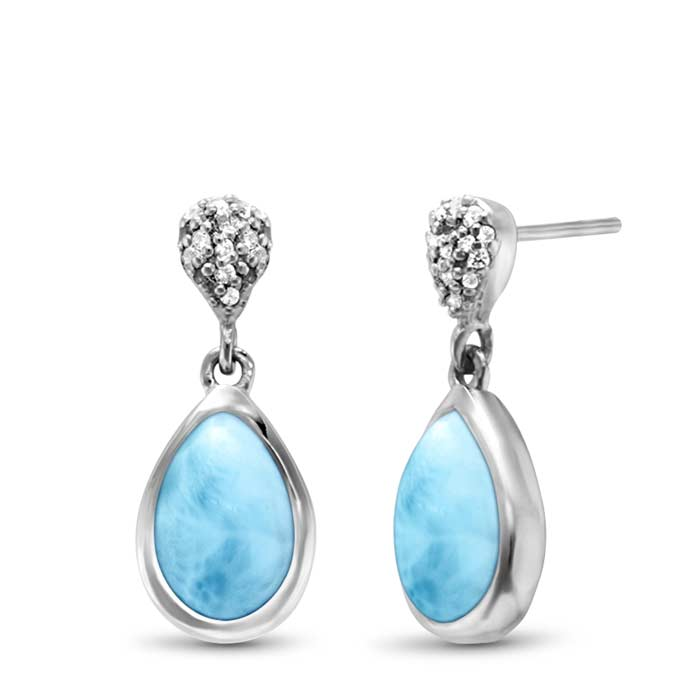 Sterling Silver Larimar Earrings With White Sapphires, Liberty, by Marahlago by Marahlago Larimar