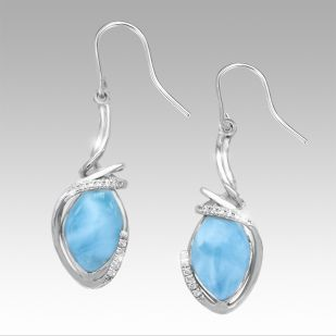 OJ17-24E Sterling Silver Larimar Earrings With White Sapphires, Calypso, by Marahlago by Marahlago Larimar