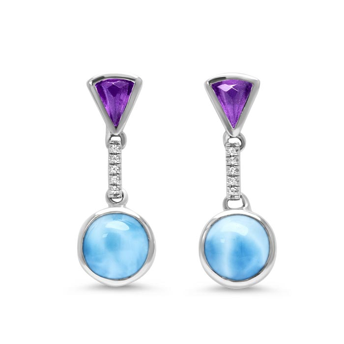 Sterling Silver Larimar Earrings With White Sapphires & Amethysts, Cove, by Marahlago by Marahlago Larimar