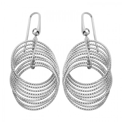 Sterling Silver Rhodium Plated Multi Circle Drop Earrings by Charles Garnier