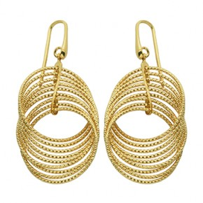 Sterling Silver Yellow Plated Multi Circle Drop Earrings by Charles Garnier