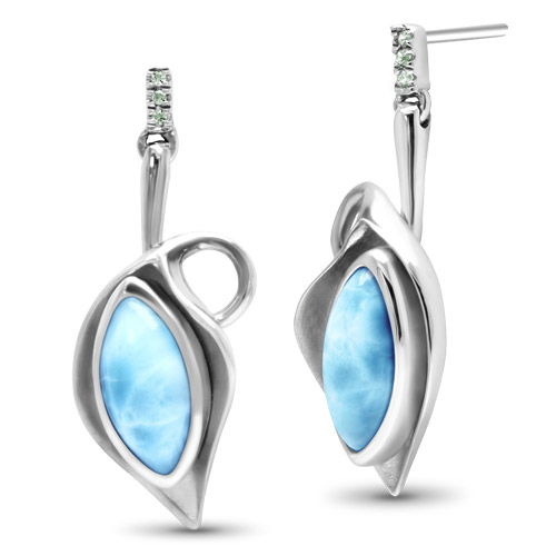 Sterling Silver Larimar Earrings With White Sapphires, Calla, by Marahlago by Marahlago Larimar