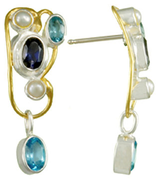 Sterling Silver & 22K Gold Vermeil Overlay Earrings With Pearls, Iolites & Topazs by Michou