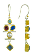 Sterling Silver and 22K Gold Vermeil Earring with Multiple Stones by Michou