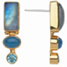 Sterling Silver and 22K Gold Vermeil Earring with Blue Rainbow Moonstone, Blue Agate & Blue Topaz by Michou