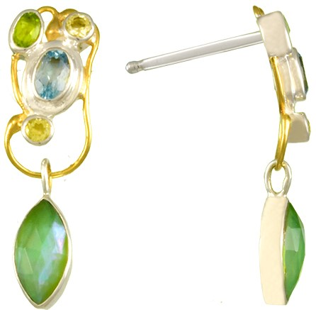 Sterling Silver & 22K Gold Vermeil Overlay Earrings With Various Stones by Michou