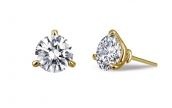 Sterling Silver Gold Plated 3-Prong CZ Earrings by Lafonn Jewelry