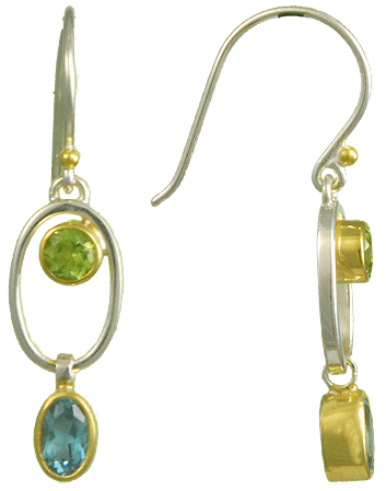 Sterling Silver & 22K Gold Vermeil Overlay Earrings With 2 Round Peridots & 2 Oval Blue Topazs by Michou