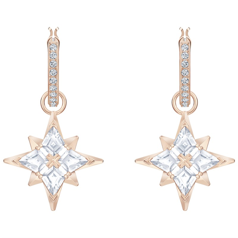 Swarovski Symbolic Star Hoop Pierced Earrings, White, Rose-gold tone plated by Swarovski