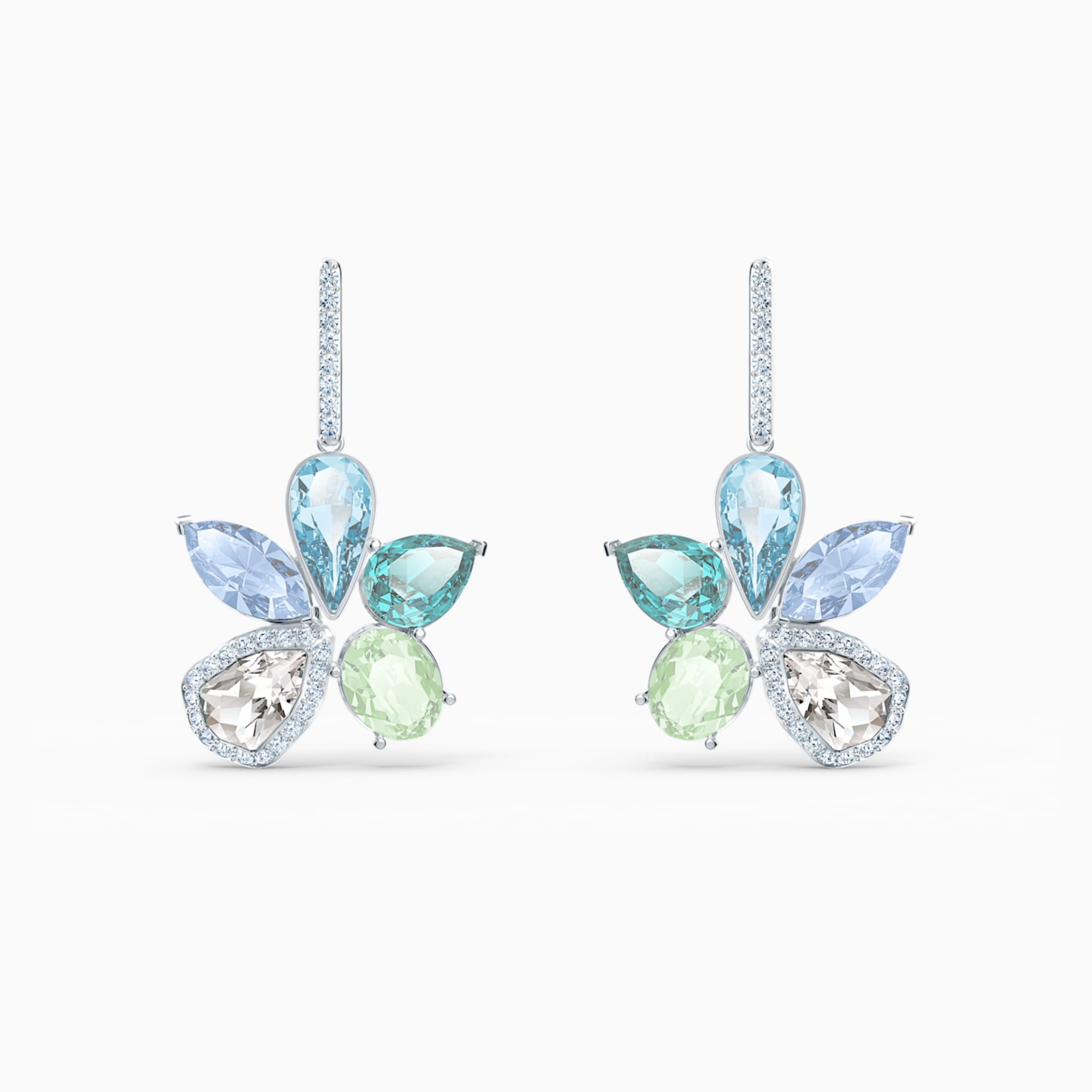 Swarovski Sunny Pierced Earrings, Light multi-colored, Rhodium plated by Swarovski