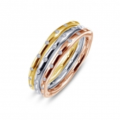 Sterling Silver Tri-Color Stackable Rings With CZs by Bridal Party Gifts