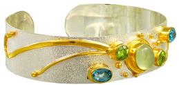 Sterling Silver and 22K Gold Vermeil Bracelet with Prehnite, Baby Blue Topaz and Peridot by Michou