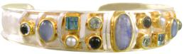Sterling Silver and 22K Gold Vermeil Sterling Silver and 22K Gold Vermeil Bracelet with Multiple Stones by Michou