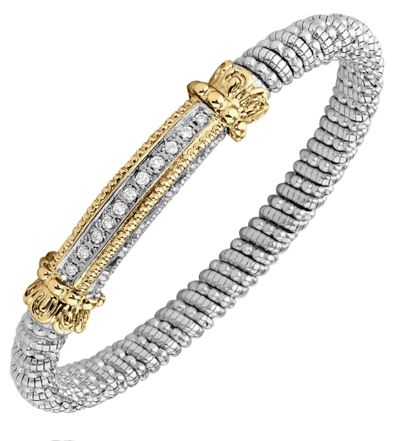 Sterling Silver & 14k Gold Bracelet by Alwand Vahan With 11 Diamonds by Vahan